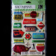 K&COMPANY Par Avion Icon PILLOW STICKERS PACK Road Sign Arrows Travel Road Trip