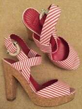 BNWT Ladies M&S Red & White Stripe Platform Sandals UK Shoe Size 4.5 EU 37.5