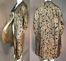Vintage 20s Art Deco Black Silk Gold Lamé Lame Jacobean Motif Flapper Cloak Cape