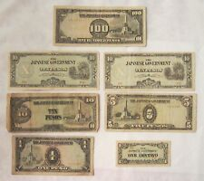 PHILIPPINES JAPANESE INVASION CURRENCY 100, 10 (3) & 5 PESOS, 1 PESO 1 CENTAVO