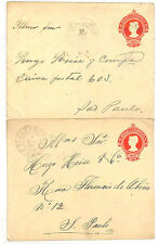 QQ118 1913 BRAZIL POSTAL STATIONERY 100r Envelopes(x2) *Sao Paulo* Fine Used