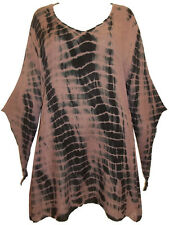 Womens Boho Tunic Caftan Witchy Medieval Pointy Sleeve Tie Dye Rayon Esoteric 30