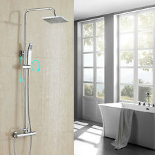Thermostatic Wall Mount Shower Mixer Bar Valve With Hand Shower Spray Body Jet