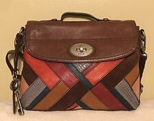 Fossil Maddox Multi Patchwork Top Handle Crossbody Messenger Briefcase Satchel