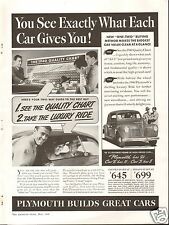 1940 Plymouth Quality Chart Luxury Ride LARGE Car Print Ad