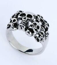 Rock biker stainless steel cool jewely hell Skull-king head cool ring  Usize8