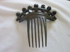 1851 ANTIQUE I R COMB CO GOODYEAR FANCY VICTORIAN HAIR COMB JET BLACK GLASS BEAD