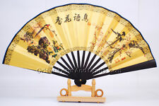 Handmade Chinese Ancient Writing Painting Hand Held Fan Bamboo Paper Wall #f304