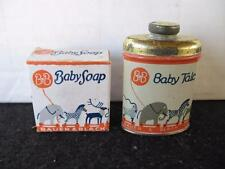 VINTAGE SAMPLES BAUER & BLACK BABY TALC POWDER TIN WITH BABY SOAP~RARE FIND~