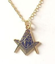 Masonic Cut Out Crest with G Gold Pendant, Chain and Organza Pouch K016AP