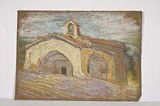 Chapelle ancienne à BIOT Alpes Maritimes Pastel Marguerite DUBOIS XX° Siècle