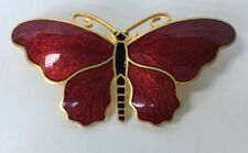 VINTAGE SPORRONG RED ENAMEL ON GOLD BUTTERFLY PIN BROOCH STOCKHOLM