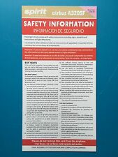 SPIRIT AIRLINES SAFETY CARD--AIRBUS 320SF --2016 NEWEST REVISION