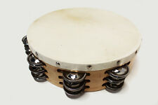 """AP PRO SUPER DELUXE 10"""" SOLID WOOD FRAME TAMBOURINE TRIPLE ROW JINGLE HAND MADE"""