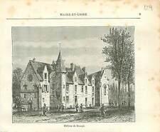 Château de Baugé Maine-et-Loire FRANCE GRAVURE ANTIQUE OLD PRINT 1882