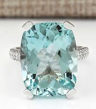 Fashion Women 925 Silver Aquamarine Solitaire Ring Wedding Jewelry Size 8