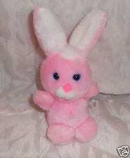 "VINTAGE Easter Pets Bunny Rabbit PINK White Stuffed Plush BLUE Eyes 8"" VTG"
