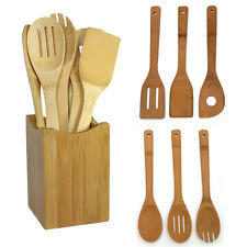 6pcs Bamboo Spoon Spatula Mixing Set Utensil Kitchen Wooden Cooking Tool Set US