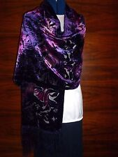 Velvet devore scarf/shawl  Purple/pink velvet floral design on black silk   NEW