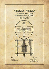 Nikola Tesla vintage style patent POSTER A4 High Quality Print Sign