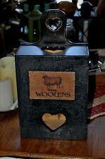 Primitive Wooden Bag Holder Distressed Grungy Sheep Old Lamp Black Folk Art