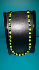 """BRAND NEW"" Unisex Jamaican Flag Colour Beaded Handmade Necklace ALSC 22inches"