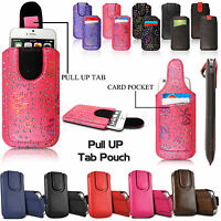 Leather Pull Tab Slide In Case Cover Sleeve Pouch For Bush Spira Mobile Phones