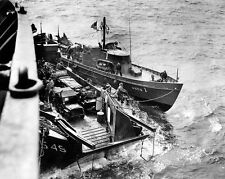 """LCT with Jeeps is assisted by a tug boat 8""""x 10"""" World War II WW2 Photo 524"""