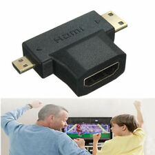 3 in 1 HDMI Female to Mini HDMI Male + Micro HDMI Male Cable Adapter Connector