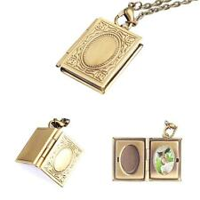 Beauty Woman Photo Frame Book Bronze Pendant Locket Chain Necklace Jewellery e8