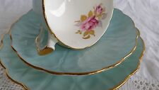 Aynsley Crocus Blue 2715 Trio Teacup saucer cup side plate duck egg blue roses