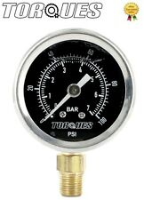 Torques Analog Fuel Pressure Gauge Black Face 0-1 BAR / 0-15 PSI Fluid Filled