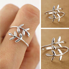 Filigree Leaf Vine Branch Wrap Thumb Jewelry 925 Silver Adjustable Open Rings