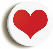 RED HEART BADGE BUTTON PIN (Size is 1inch/25mm diameter) VALENTINE LOVE PEACE