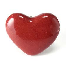 2  Red Heart Cabinet Knobs Kitchen Drawer Pulls Ceramic Nursery Furniture #C96