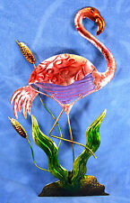Flamingo Metal and Glass Wall Art Home Decor Hand Painted R