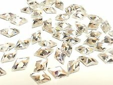 D13- 50x DIAMOND HOT FIX Faceted Glass Crystal Rhinestone Diamante Gems BLING
