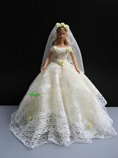 "Ivory Wedding Party Handmade Dress up Gown Outfit for Barbie, Dolls 12"" Clothes"