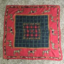 Brooks Brothers 100% Silk Scarf 35 Inches Square Equestrian Horses Red Blue