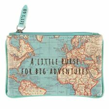 Sass and Belle Vintage Map design Zip up Coin Purse. Zip up wallet