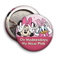 On Wednesdays We Wear Pink - Button Badge - 25mm 1 inch Disney / AHS Parody