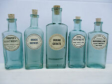 5 small old bottles with old labels corks kitchenalia bathroom wedding favour