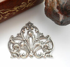 SILVER FLOURISH SCROLL CREST Stamping ~ Antique Silver (FA-6081) `