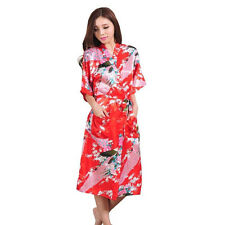 2017 Promotional Bride Long Women Kimono Robe satin silk Night dressing Gown
