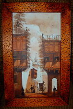 Vintage Oil Painting on Canvas Signed European Street Scene