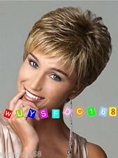 Sexy Ladies fashion Straight Short Mix Color Natural Hair Women's Wigs + wig cap
