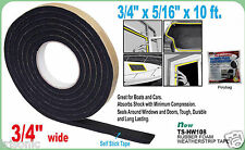 "RUBBER FOAM WEATHER SEAL SELF STICK TAPE WEATHER STRIP 3.4"" X 5/16"" X 10FT BLACK"