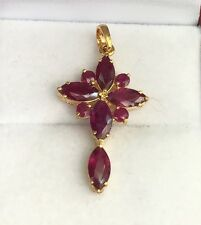 14k Solid Yellow Gold Cute Cross Pendant, Natural Ruby 2TCW