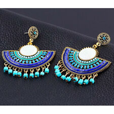 1 Pair Retro Bohemian Ethnic Style Ear Studs Stylish Rhinestone Shiny Earrings