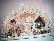 LED Candle arches 3D with 3 Figures Village Houses 72 x 43 cm Erzgebirge 10723